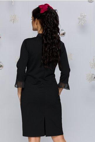 Rochie Alexis neagra cu funda si buline
