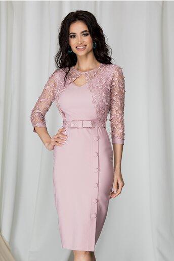 Rochie Alexis roz cu broderie la bust si nasturi pe fusta