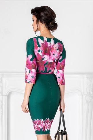 Rochie Alexis verde cu imprimeu floral mov
