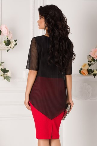 Rochie Alice negru si rosu cu voal plisat suprapus