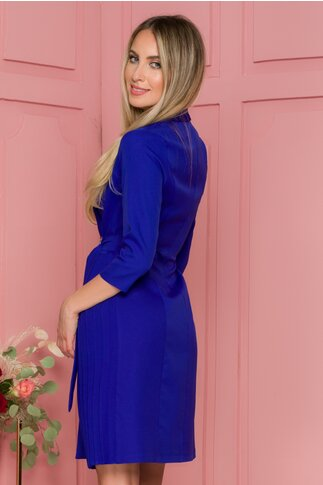 Rochie Alina albastra cu cordon in talie si pliuri in lateral