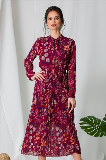 Rochie Alina bordo cu imprimeu floral si fusta plisata