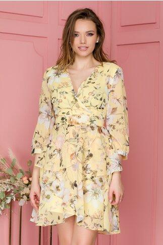 Rochie Alina din voal galben cu imprimeu floral si volanase
