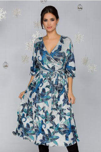 Rochie Alina gri cu imprimeu floral albastru