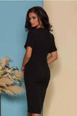 Rochie Alina neagra cu design petrecut si talie accesorizata cu strasuri