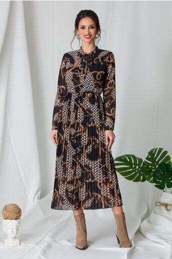 Rochie Alina neagra cu imprimeu chain si fusta plisata