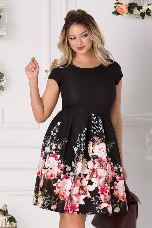 Rochie Alina neagra cu imprimeu floral pastelat