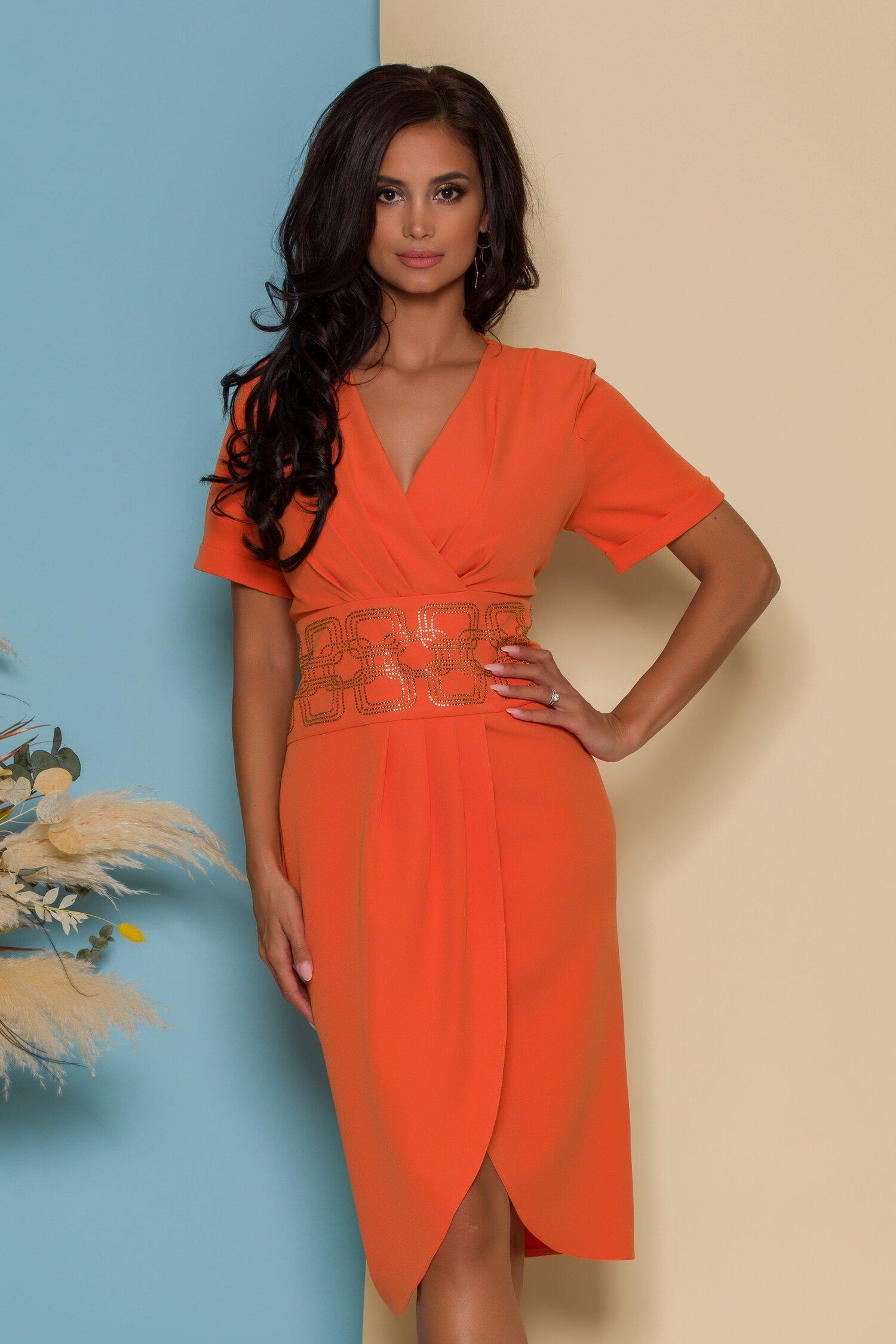 Rochie Alina orange cu design petrecut si talie accesorizata cu strasuri