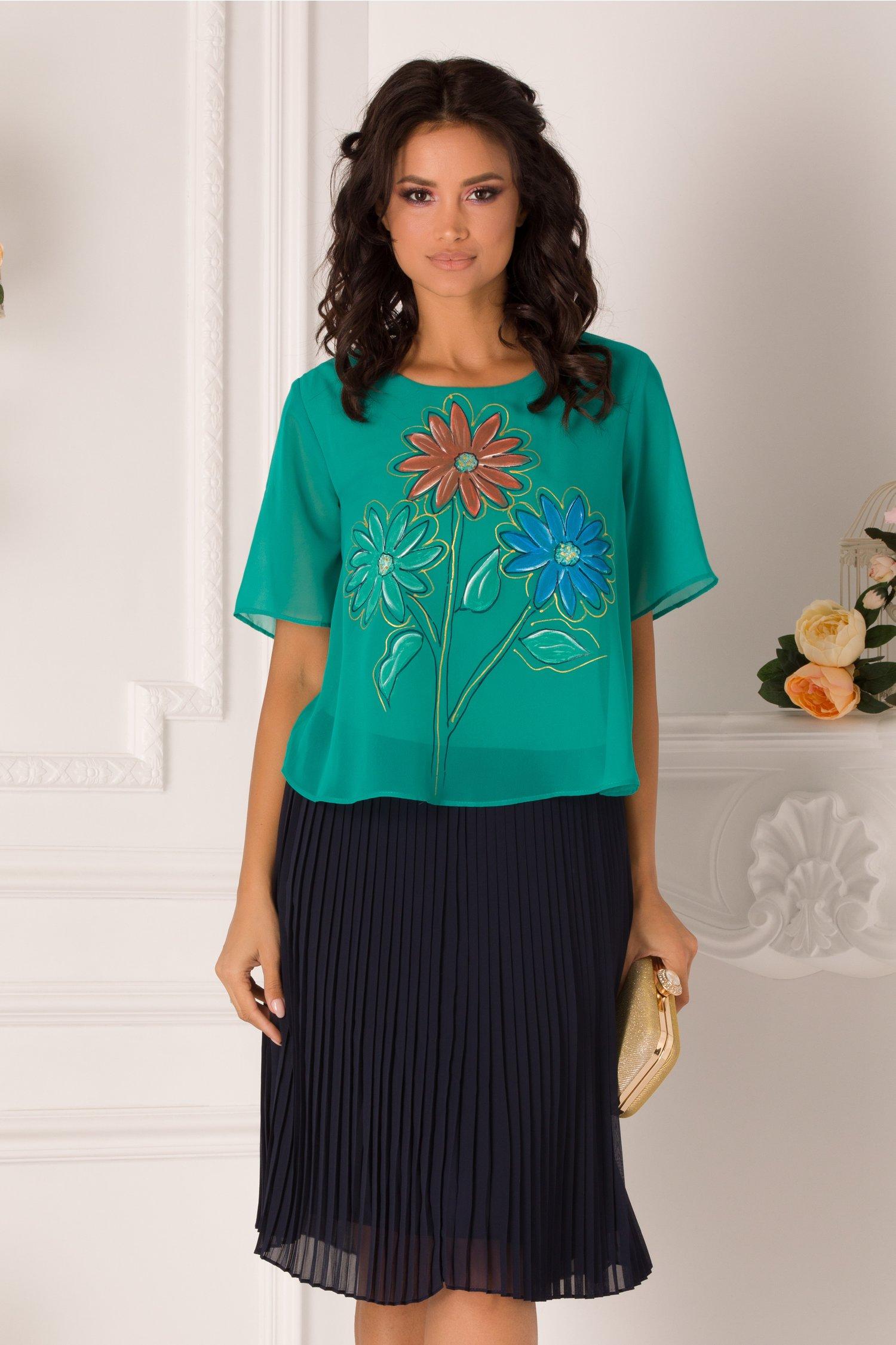 Rochie Alina verde si bleumarin cu imprimeu floral la bust