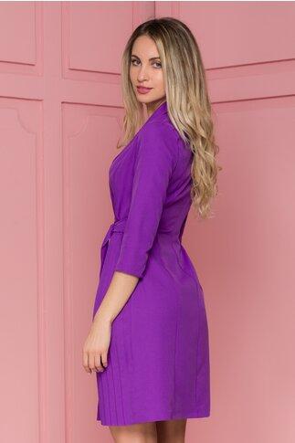 Rochie Alina violet cu cordon in talie si pliuri in lateral