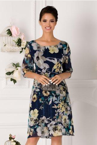 Rochie Alis bleumarin cu imprimeu floral si lurex argintiu