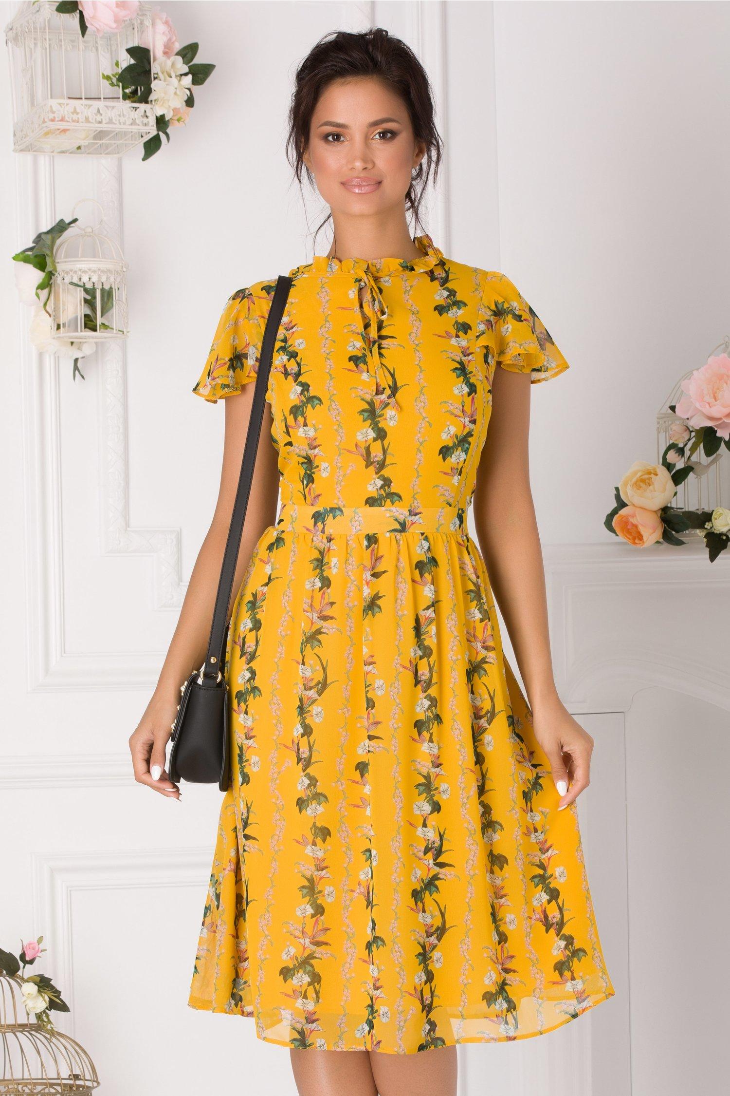 Rochie Alis galbena cu imprimeuri florale si volanas la guler