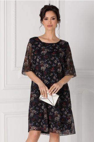 Rochie Alis neagra cu flori si insertii din catifea