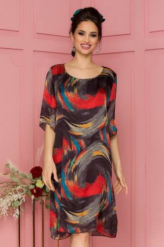 Rochie Alis neagra cu imprimeu multicolor
