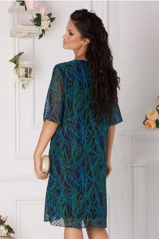 Rochie Alis neagra cu imprimeu verde-albastru