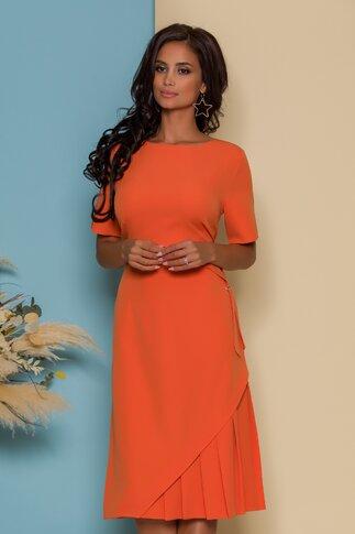 Rochie Alis orange cu detaliu in talie si pliuri la baza