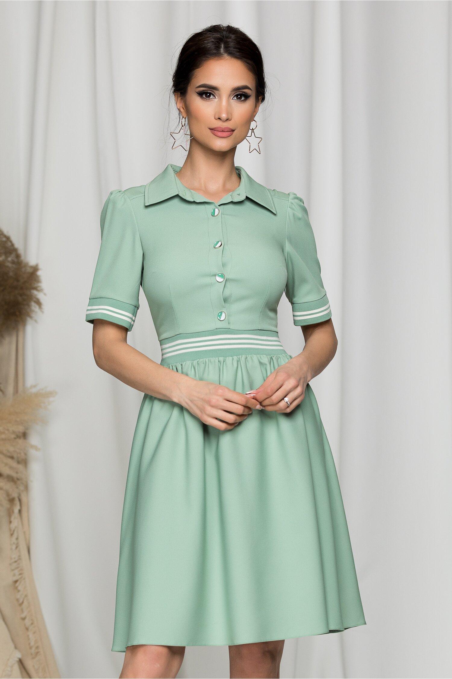 Rochie Alis verde cu dungi albe