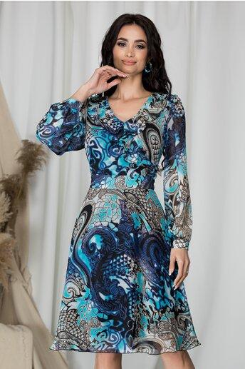 Rochie Alisa midi in clos cu imprimeu albastru