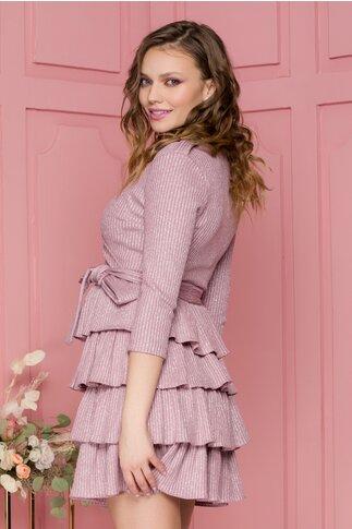 Rochie Alisa roz tip tricot cu lurex argintiu si volane