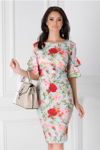 Rochie Alison bleu cu imprimeu floral colorat