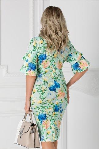 Rochie Alison vernil cu imprimeu floral colorat