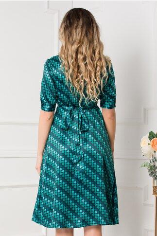 Rochie Alli tip camasa cu buline in nuante de verde