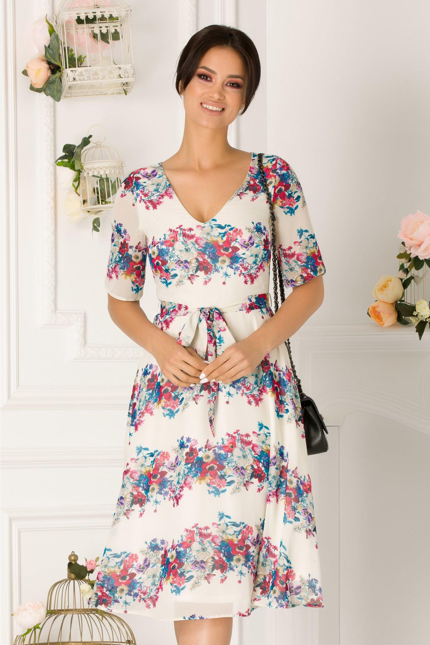 Rochie Alma alba cu imprimeu floral