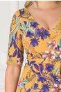 Rochie Alma galbena cu imprimeu floral