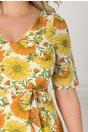 Rochie Alma ivoire cu imprimeu floral galben