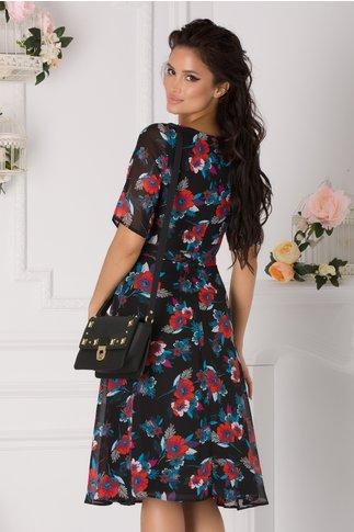 Rochie Alma neagra cu flori colorate