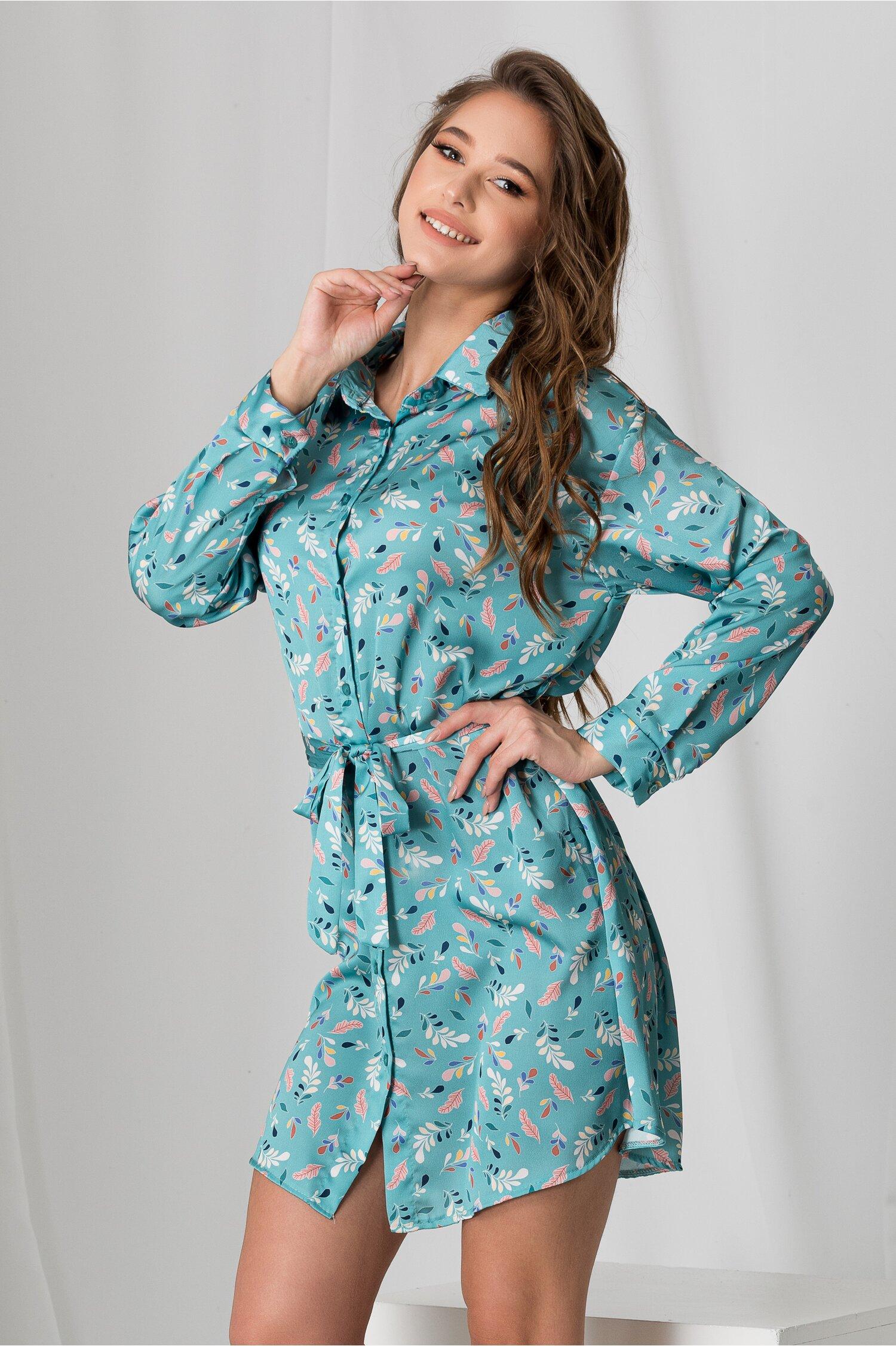 Rochie Alma tip camasa turcoaz cu imprimeuri colorate