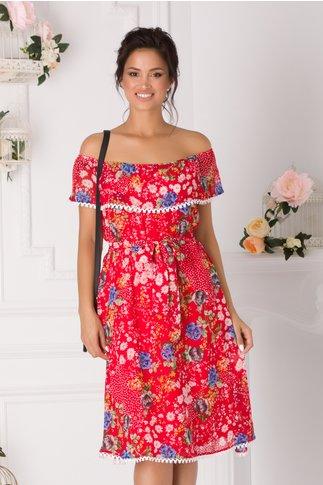Rochie Alma vaporoasa rosie cu floricele
