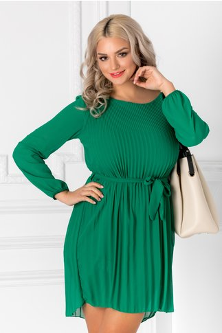 Rochie Alma verde usor plisata cu cordon in talie