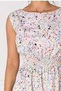 Rochie Alona alba cu imprimeuri mozaic colorate