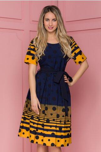 Rochie Amaia bleumarin cu dungi galbene si buline negre