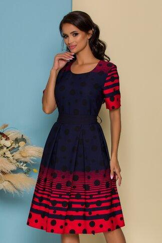 Rochie Amaia bleumarin cu dungi rosii si buline negre
