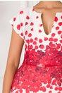 Rochie Amalia alb cu petale rosii
