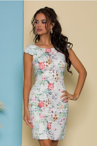 Rochie Amalia alba cu imprimeuri florale colorate