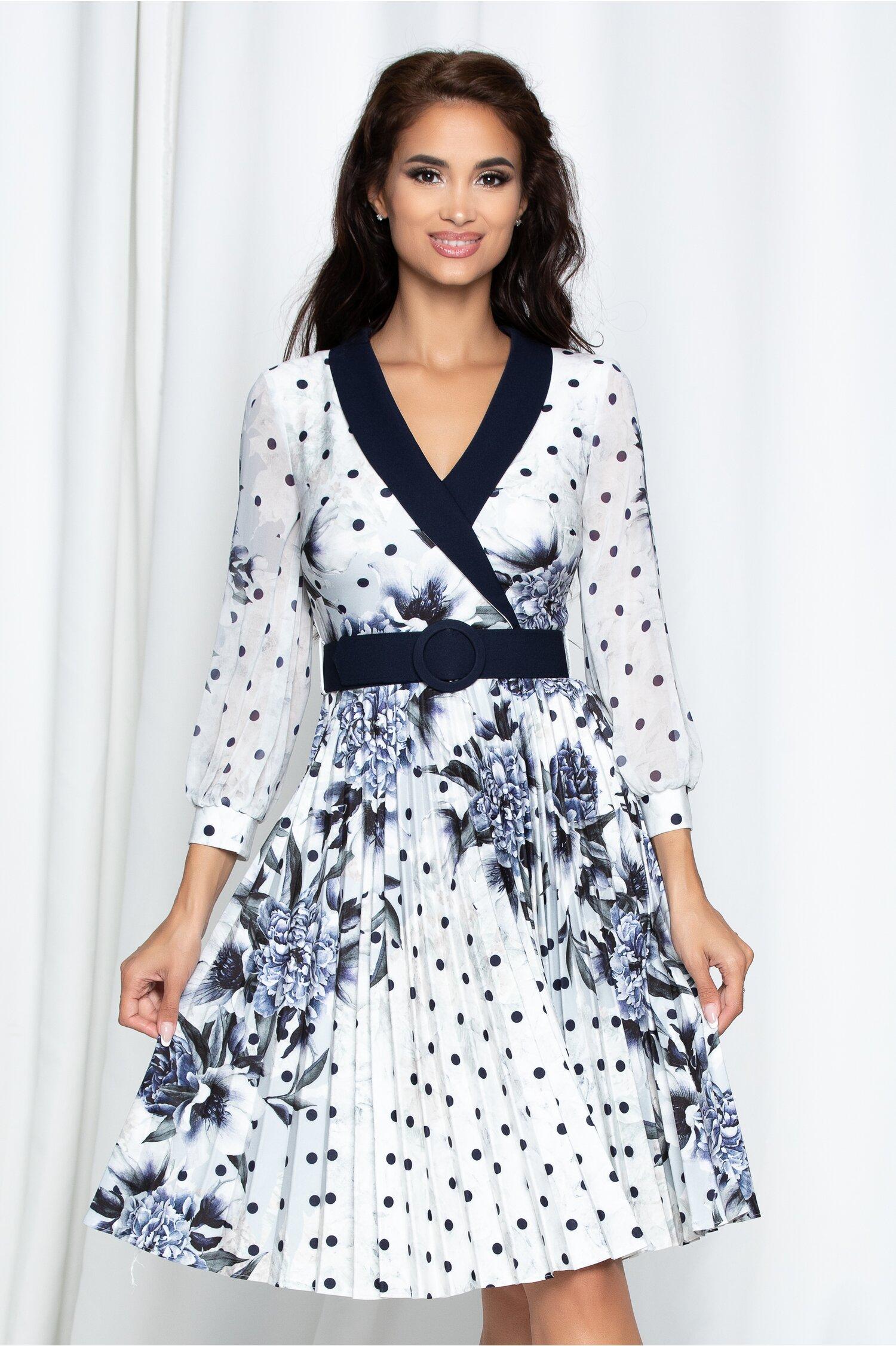 Rochie Amalia cu imprimeu bleumarin si curea in ton cu rochia