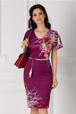 Rochie Amalia magenta cu imprimeu floral pe o parte