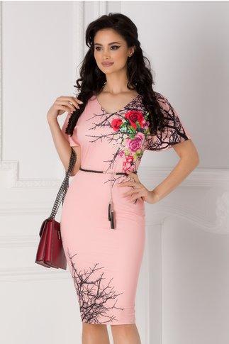 Rochie Amalia roz cu imprimeu floral pe o parte
