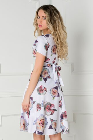 Rochie Amelia alba cu imprimeu floral