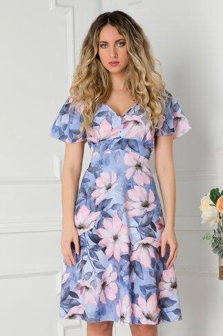 Rochie Amelia bleu cu imprimeu floral in tonuri de roz