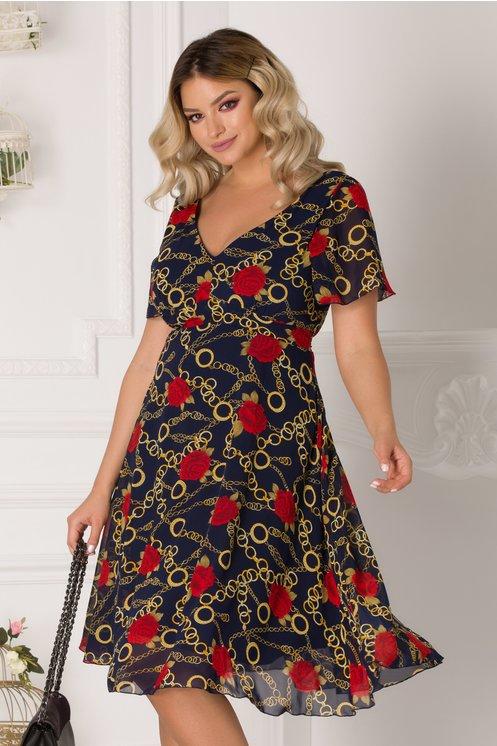 Rochie Amelia bleumarin cu motive chain si trandafiri rosii