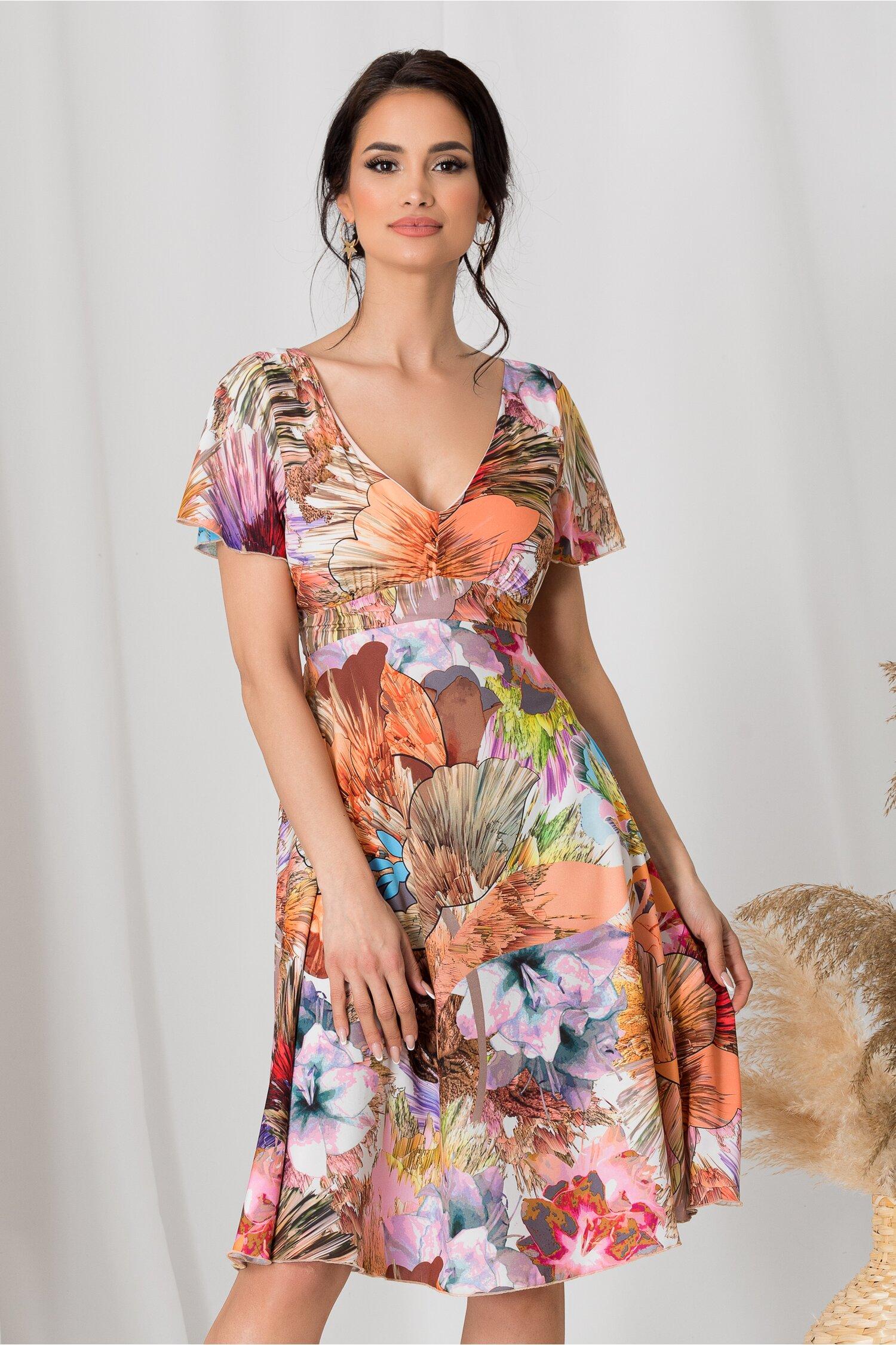 Rochie Amelia de zi cu flori orange si roz