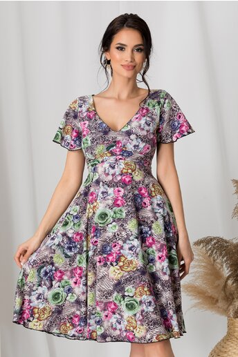 Rochie Amelia gri cu animal print si trandafiri colorati