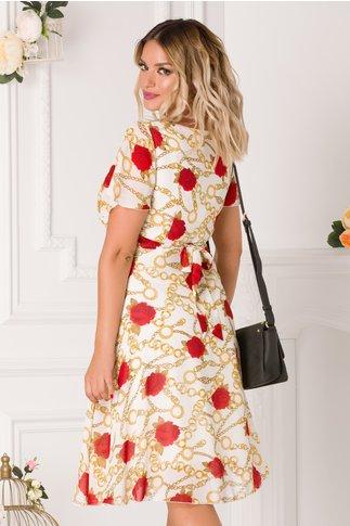 Rochie Amelia ivoire cu imprimeu floral de zi
