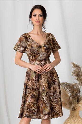 Rochie Amelia maro cu animal print