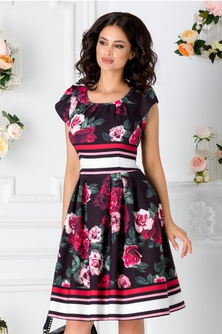 Rochie Amelia neagra cu imprimeu floral
