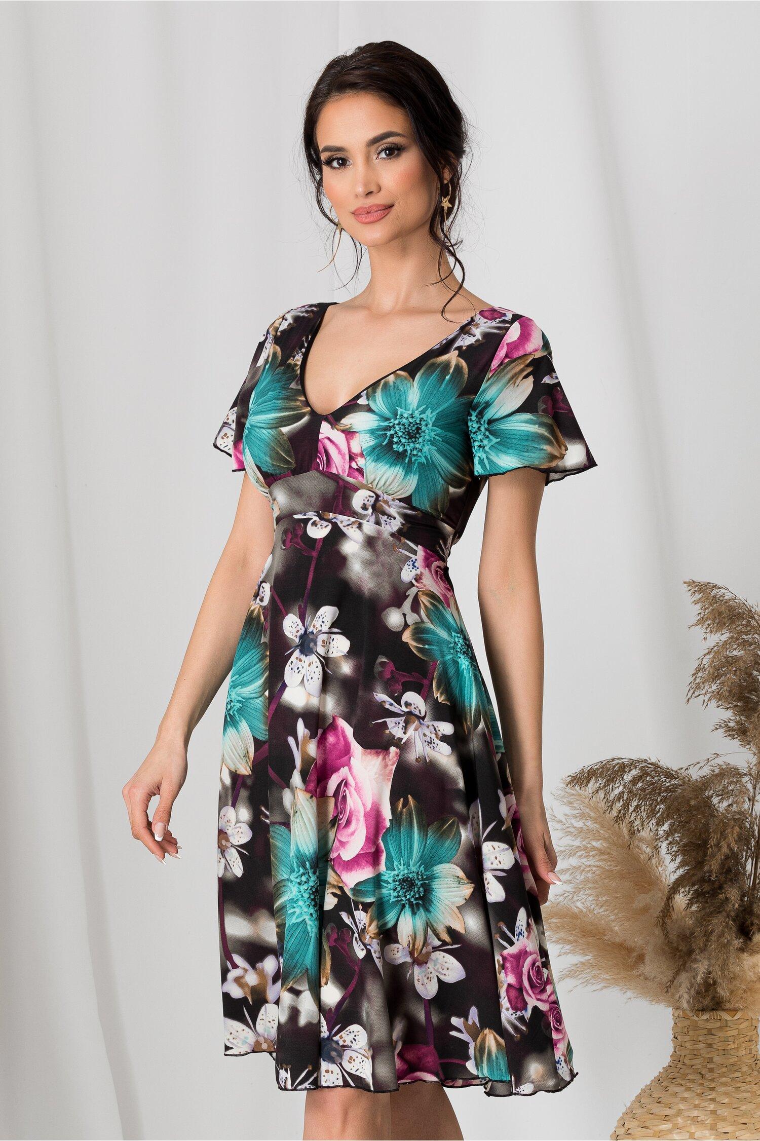 Rochie Amelia neagra de zi cu flori turcoaz si lila imagine dyfashion.ro 2021